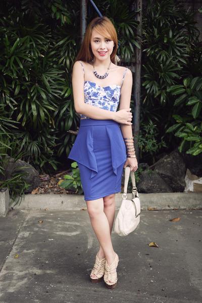 blue Topshop top - off white Gucci bag - blue apartment 8 skirt