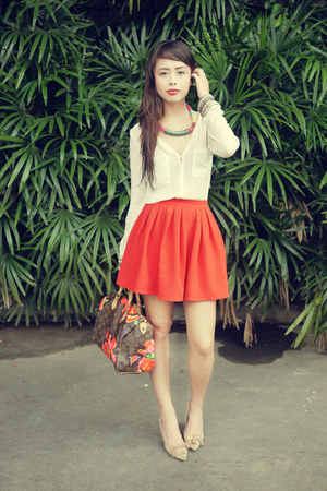 carrot orange Fashiondipity skirt - beige Chloe shoes - brown Louis Vuitton bag