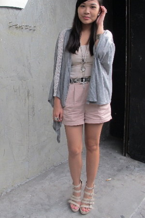 light pink Forever 21 shorts - heather gray cotton Topshop cape