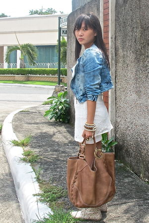 blue denim Zara jacket - white random from china dress
