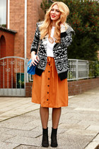 black Zara shoes - blue Lookbook Store bag - carrot orange Esprit skirt