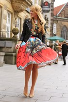 camel Aldo shoes - ruby red printed romwe dress - black leather Zara jacket
