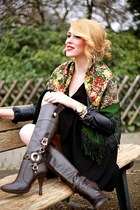 forest green Luxyra scarf - dark brown random brand boots - black H&M dress