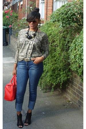 Kurt Geiger shoes - skinny jeans Zara jeans - satchel Edna Ronay bag