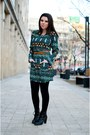 Black-lovely-shoes-boots-green-romwe-dress
