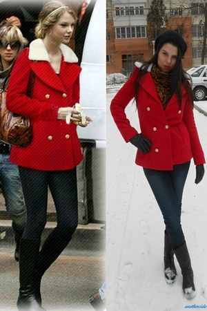black yeswalker boots - red AHAISHOPPING coat - dark gray new look jeans