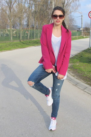 hot pink Forever 21 blazer - navy ripped abercrombie and fitch jeans