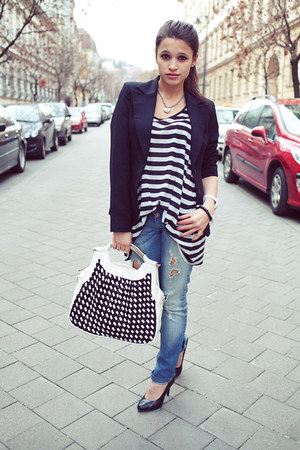 black new look blazer - navy ripped Stradivarius jeans - black striped H&amp;M top