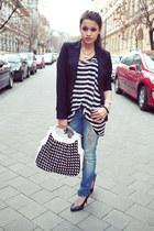 black new look blazer - navy ripped Stradivarius jeans - black striped H&M top
