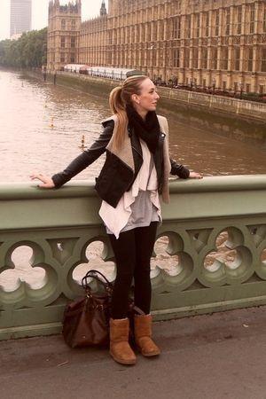 black Topshop vest - black H&M jacket - beige Primarkk cardigan - gray H&M top -