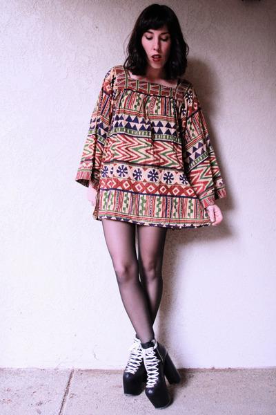 black hellbounds UNIF boots - tan indian gauze vintage dress