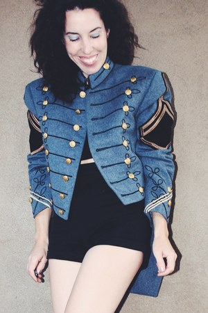 military band vintage jacket - Jeffrey Campbell boots - Reformation shorts