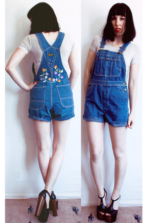 blue overalls vintage 60s romper