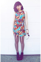black lita Jeffrey Campbell boots - red tropical print vintage 80s dress