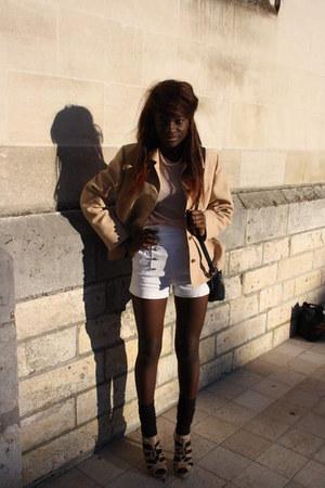 shorts - shoes - blazer - Cacharel top