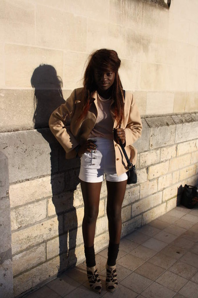 shorts - shoes - blazer - Cacharel top
