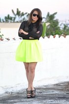 black aviator versace sunglasses - Zara blouse - yellow Honey Bunch skirt