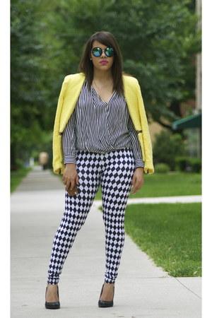 Forever 21 leggings - Zara blazer - zeroUV sunglasses - Qupid heels