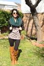 Tawny-diva-lounge-boots-black-forever21-jacket-teal-gift-scarf