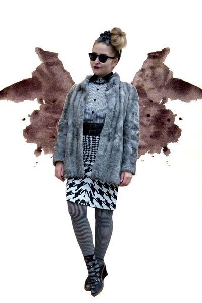 silver vintage coat - black thrifted shirt - black emporio armani sunglasses