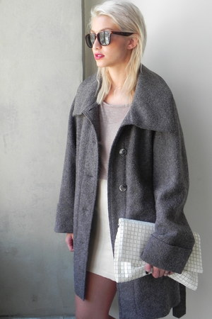 charcoal gray wool vintage coat - off white suede oxfords shoes