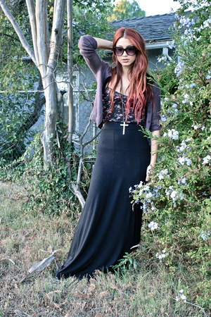 black floral free people shirt - amethyst cardigan - black maxi H&M skirt