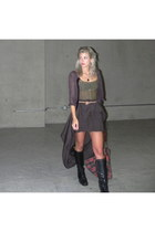 black riding boots Steve Madden boots - brick red plaid bag