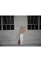 white maxi skirt skirt - tan suede Steve Madden boots - camel crop sweater