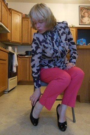 silver Go International blouse - hot pink cotton merona pants