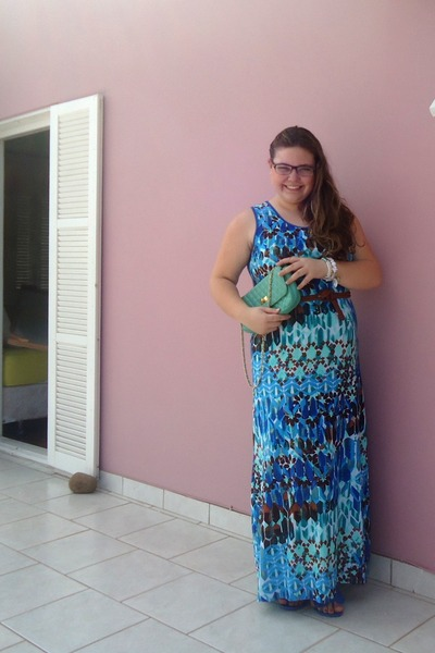 blue dress - turquoise blue bag - blue sandals - brown belt - white bracelet
