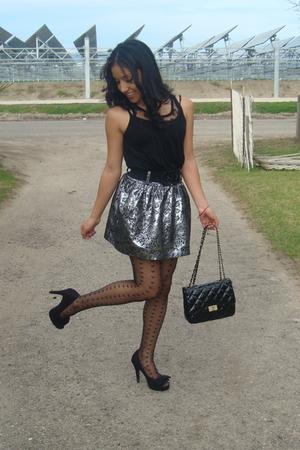 black Topshop stockings - silver Charlotte Russe skirt - black Forever 21 shoes