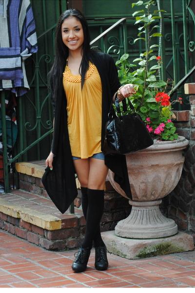 black Aldo boots - black Forever 21 bag - black H&M socks