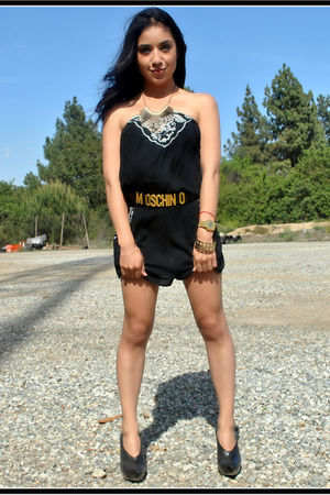 black romper Forever 21 dress - black Alexander Wang shoes - gold Moschino belt