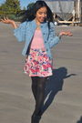 Blue-h-m-jacket-pink-american-apparel-intimate-pink-forever-21-skirt