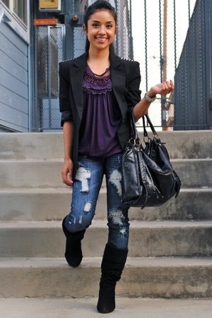 black Forever 21 blazer - black Forever 21 boots - purple Fashion Gal blouse