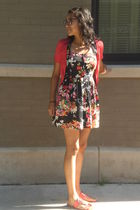 pink aeropastle cardigan - black TJMaxx dress - pink BCBG shoes