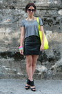 Yellow-pull-bear-bag-black-h-m-skirt-silver-zara-necklace