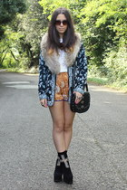black Jeffrey Campbell boots - blue jacket - black Mango bag