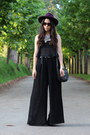 Purple-h-m-hat-black-bershka-top-black-zara-pants