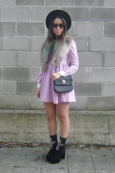black Jeffrey Campbell boots - light purple Romwecom dress