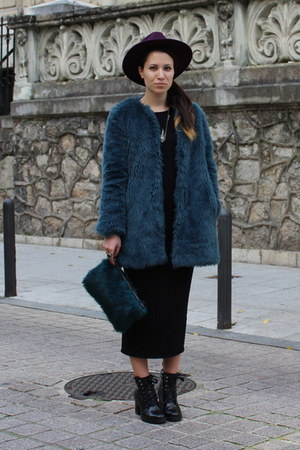 blue faux fur Zara coat - black Zara boots - black Zara dress - purple H&M hat