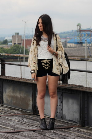 black Zara boots - cream Zara jacket - white Bershka top