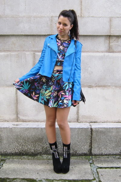 sky blue Nasty Gal jacket - black Jeffrey Campbell boots - romwe t-shirt