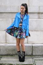 sky blue Nasty Gal jacket - black Jeffrey Campbell boots - romwe t-shirt
