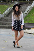 purple H&M hat - white Zara shirt - beige faux fur H&M scarf