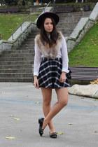 purple H&M hat - white Zara shirt - beige faux fur H&M scarf