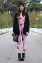 bubble gum romwe leggings - bubble gum romwe t-shirt - black BLANCO cardigan