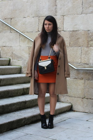 black Zara boots - camel H&M coat - black Zara purse - burnt orange Zara skirt
