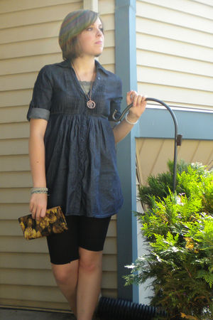 Walmart shirt - DIY leggings - vintage - vintage necklace - - green Macys