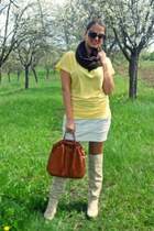 beige boots - tan jacket - yellow shirt - brown BLANCO bag